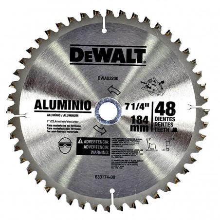 """Disco de sierra 7-1/4"""" Eje 5/8"""" 48D ALUMINIO DWA03200 Dewalt"""