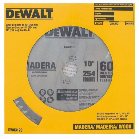 """Disco de sierra 10"""" 60 Dientes Madera DWA03120 Dewalt"""