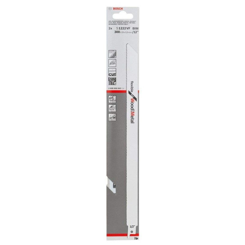Cuchila para Sierra Sable  S1222 VF MA CLAVO 250mm 12 BOSCH