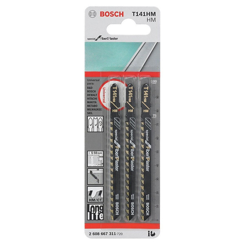 Hoja Caladora T141HM X3unid BIM Recto/Grueso especial para fibra de vidrio