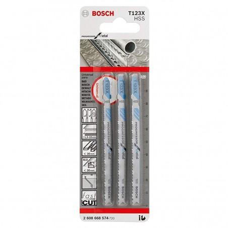 Hoja Caladora T123X X3unid HSS Recto/Fino especial Progressor Metal