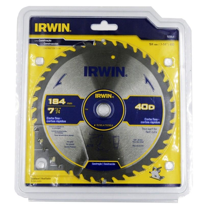 """Disco de sierra 7-1/4"""" X 40T 5/8"""" Universal 15230LA IRWIN"""