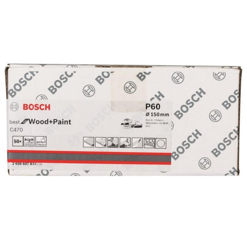 Disco de lija P/Madera C470 Grano 60 150 mm 6 huecos Cajax 50 unid